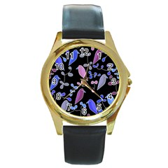 Flowers and birds - blue and purple Round Gold Metal Watch