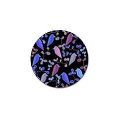 Flowers and birds - blue and purple Golf Ball Marker