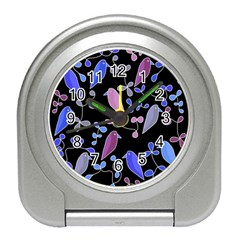 Flowers and birds - blue and purple Travel Alarm Clocks