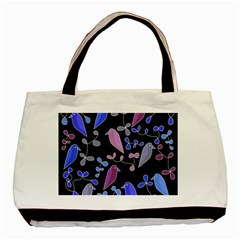 Flowers and birds - blue and purple Basic Tote Bag
