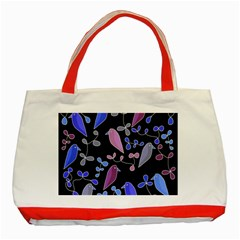 Flowers and birds - blue and purple Classic Tote Bag (Red)