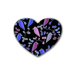 Flowers and birds - blue and purple Rubber Coaster (Heart)
