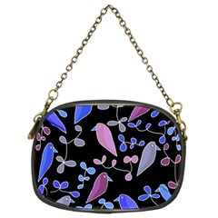 Flowers and birds - blue and purple Chain Purses (Two Sides)