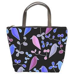 Flowers and birds - blue and purple Bucket Bags