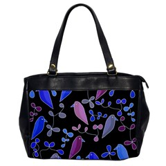 Flowers and birds - blue and purple Office Handbags