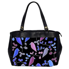 Flowers and birds - blue and purple Office Handbags (2 Sides)