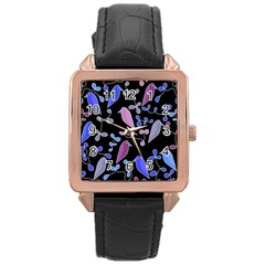 Flowers and birds - blue and purple Rose Gold Leather Watch
