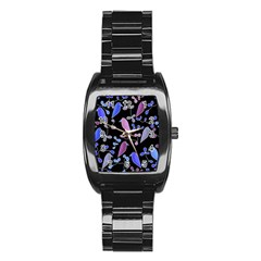 Flowers and birds - blue and purple Stainless Steel Barrel Watch