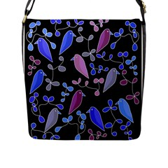 Flowers and birds - blue and purple Flap Messenger Bag (L)