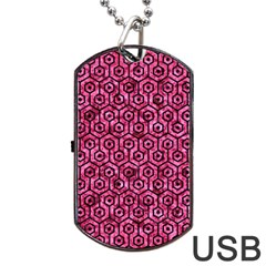 HXG1 BK-PK MARBLE (R) Dog Tag USB Flash (One Side)