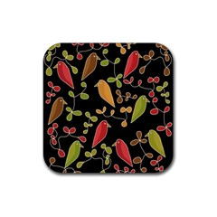 Flowers and birds  Rubber Square Coaster (4 pack)