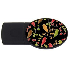 Flowers and birds  USB Flash Drive Oval (4 GB)