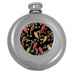 Flowers and birds  Round Hip Flask (5 oz)
