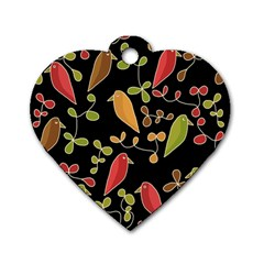Flowers and birds  Dog Tag Heart (Two Sides)