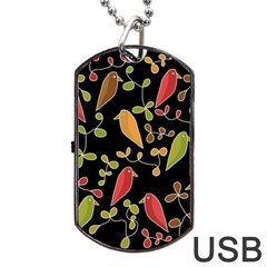Flowers and birds  Dog Tag USB Flash (One Side)