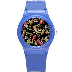 Flowers and birds  Round Plastic Sport Watch (S)