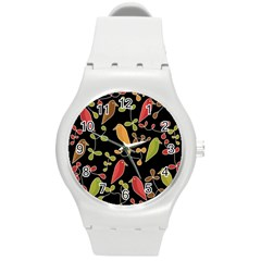 Flowers and birds  Round Plastic Sport Watch (M)