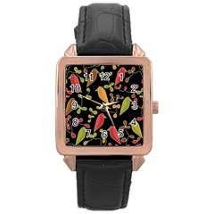 Flowers and birds  Rose Gold Leather Watch