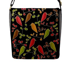 Flowers and birds  Flap Messenger Bag (L)