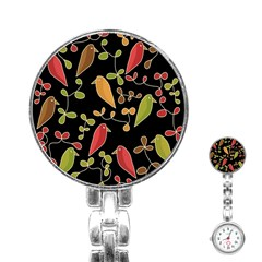 Flowers and birds  Stainless Steel Nurses Watch