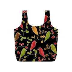 Flowers and birds  Full Print Recycle Bags (S)