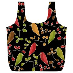 Flowers and birds  Full Print Recycle Bags (L)
