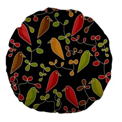 Flowers and birds  Large 18  Premium Flano Round Cushions