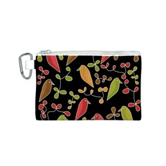 Flowers and birds  Canvas Cosmetic Bag (S)