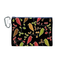 Flowers and birds  Canvas Cosmetic Bag (M)
