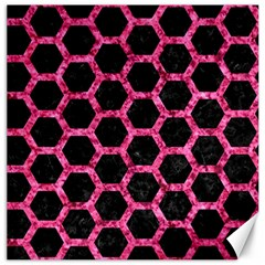 Hexagon2 Black Marble & Pink Marble Canvas 12  X 12