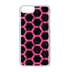 Hexagon2 Black Marble & Pink Marble Apple Iphone 7 Plus White Seamless Case