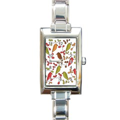 Birds and flowers 3 Rectangle Italian Charm Watch
