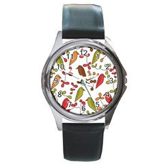 Birds and flowers 3 Round Metal Watch