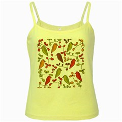 Birds and flowers 3 Yellow Spaghetti Tank