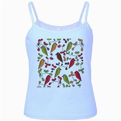 Birds and flowers 3 Baby Blue Spaghetti Tank