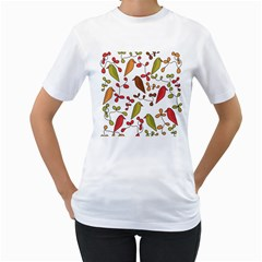 Birds and flowers 3 Women s T-Shirt (White) (Two Sided)
