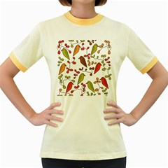 Birds and flowers 3 Women s Fitted Ringer T-Shirts