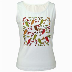 Birds and flowers 3 Women s White Tank Top