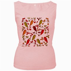 Birds and flowers 3 Women s Pink Tank Top