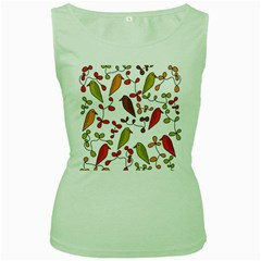 Birds and flowers 3 Women s Green Tank Top