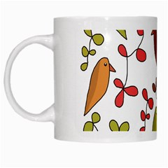 Birds and flowers 3 White Mugs