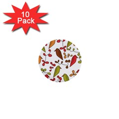 Birds and flowers 3 1  Mini Buttons (10 pack)