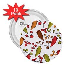 Birds and flowers 3 2.25  Buttons (10 pack)