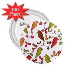 Birds and flowers 3 2.25  Buttons (100 pack)