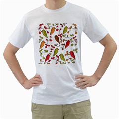 Birds and flowers 3 Men s T-Shirt (White) (Two Sided)