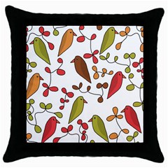 Birds and flowers 3 Throw Pillow Case (Black)