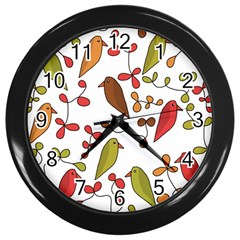 Birds and flowers 3 Wall Clocks (Black)