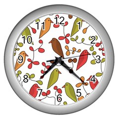 Birds and flowers 3 Wall Clocks (Silver)