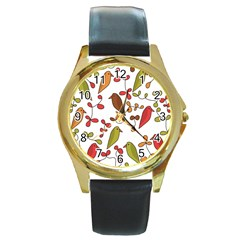 Birds and flowers 3 Round Gold Metal Watch