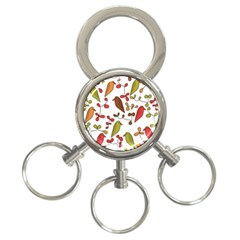 Birds and flowers 3 3-Ring Key Chains